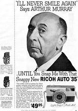 1960 Ricoh Auto 35mm Camera Arthur Murray I'll Never Smile Again Print Ad