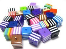 100 Mixed Colour Stripes Acrylic Cube Beads 8X8mm Kids Craft DIY