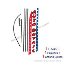 Auto Detail (stars&stripes) 15' Feather Banner Swooper Flag Kit with pole+spike