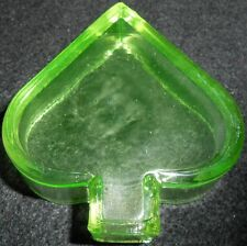 Green Vaseline Uranium glass spade pattern salt dip cellar yellow poker art card