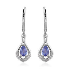 New 925 Sterling Silver Platinum Plated Pear Tanzanite,  Zircon Earring Cttw 1