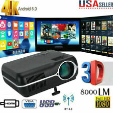 4K 3D WIFI Wireless Video Projector Android BT 1080P HD LCD Smart Home Theater