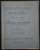 CNE ROULIN: Cours d'Artillerie  - Armes portatives  / 1885