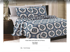 Hotel New York 3 Piece Quilt Set, Queen, Blue -used