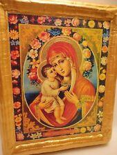 Virgin Mary Jesus Christ Christianity Roman Catholic Church Icon on Aged Wood