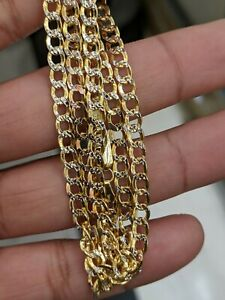 10kt Real Gold Cuban Diamond Cut 24 Inch 4 mm Thick chain