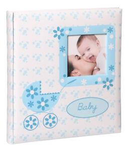 Baby Buggy Kinderalbum in Blau 29x32 cm 60 Seiten Babyalbum Foto Album