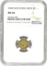 Costa Rica: 5 Centimos 1940 GCR, NGC MS 64, KM# 151 Brass