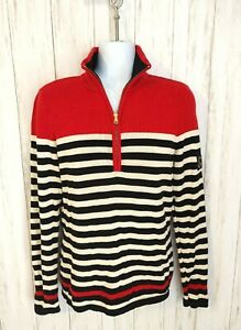 Ralph Lauren Womens M Red Black Striped Long Sleeve 1/4 Zip Sweater