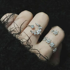 5Pcs/Set Vintage Silver Crystal Star Flower Stackable Sparkly Rings Jewelry Gift