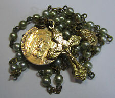 † HTF VINTAGE BLESSED HOLY FACE OF JESUS MEDAL & GOLD TONED GREEN PEARL ROSARY †