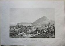 1845 VEDUTA DI MESSINA IN SICILIA Zuccagni Orlandini acquaforte originale