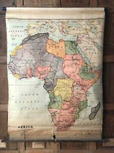 Antique Africa Map, Pull Down School Map Chart, Map Wall Hanging, Vintage Map