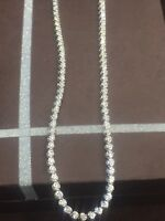5.64 Cts Round Brilliant Cut Natural Diamonds Chain Necklace In Solid 14K Gold