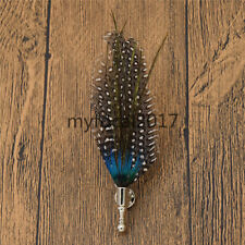 Mad Hatter Peacock Feather Brooch Pin Corsage Gentleman DIY Hat Accessories New