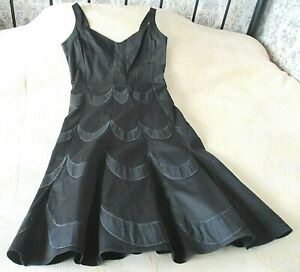 Black cotton party dress by REISS Size 10 Embroidered pattern
