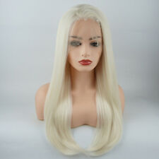 Meiyite Hair Straight Long24inch White Light Blonde Mix Synthetic Lace Front Wig