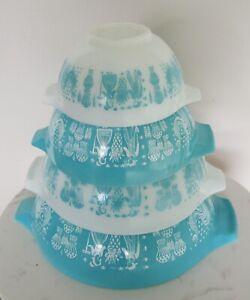 Vtg Pyrex Amish Turquoise Butterprint Cinderella Nesting Mixing Bowls Set of 4