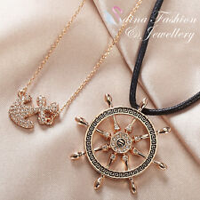 Black Cord 18K Rose Gold GP Nautical Anchor & Ships Wheel Double layer Necklace