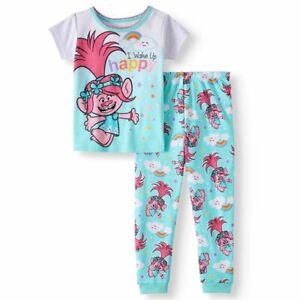 New Trolls Poppy girls 5T toddler 2 piece snug fit pajamas I wake up Happy