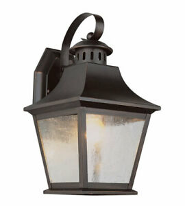 "Trans Globe Lighting EEL Manchester Outdoor Wall Light, 13"", Rubbed Oil Bronze"