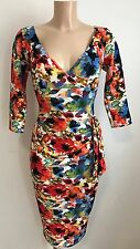 BEAUTIFUL RED FLORAL TEXTURED PLUNGE NECK BODYCON WIGGLE PENCIL DRESS SIZE 18