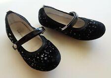 Stuart Weitzman Fannie Dancer Black Velvet Mary Jane Flats Sparkling Girls 10