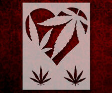 "Love Heart Marijuana Pot Leaf Leaves 8.5"" x 11"" Custom Stencil FREE SHIP (14)"