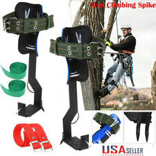 2 Gears Tree Climbing Spike Set Safety Adjustable Rope Lanyard Rescue Belt Usa