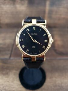 Vintage Gucci 3400M Gold Tone Unisex Watch w/ Black Band Pre-owned