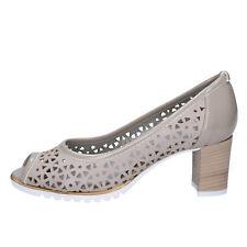 scarpe donna LADY SOFT 36 decolte' beige pelle vernice BX586-36