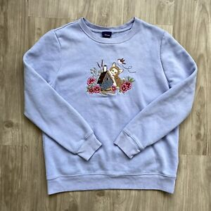 Vintage Sweatshirt Size M (fits XS) Embroidered Cat Floral Blue Long Sleeve