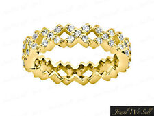 Genuine 0.65Ct Diamond X Pattern Eternity Band Ring 14k Yellow Gold Gh I1 Prong