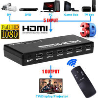 5 Port 4K 1080P HDMI Switch Switcher Selector Splitter+ Remote For HDTV PS3 DVD