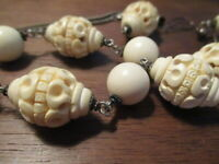 """Rare! Vintage Antique Hand Carved Ivory (color) Necklace-Matching Earrings~22"""""""