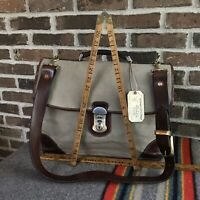 RARE VINTAGE 1980s BATTENKILL CANVAS SADDLE LEATHER MACBOOK BRIEFCASE BAG R$898