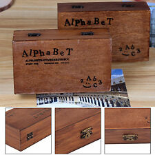 70 Pcs Wooden Rubber Upper Lower case Alphabet Letters Number Stamps Set Retro