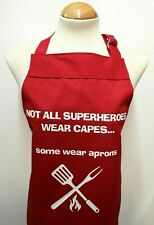 Adult small Novelty Apron - Not all superheroes wear capes personalised bbq