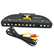 Game Splitter Selector Audio Video Switcher 4-Way RCA AV Box Remote Selector