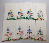 Set of 8 Vintage Linen Hand-Embroidered Quilted Floral Kitchen Tea Towels AA