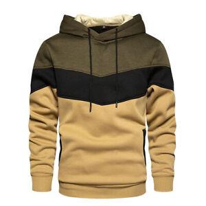 Men's Warm Winter Hoodie Hooded Sweatshirt Outwear Stripe Spliced Color Coat