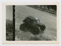 DOUBLE FRAME SNAPSHOT - 1940s CARS IN FILM NOIR MYSTERY - ABSTRACT VTG PHOTO ART