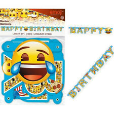 6FT Emoji Happy Birthday Banner Jointed Letters  Decoration Smiley Face