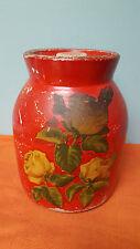 Vintage Folk Art Decoupage Stoneware Canister Unsigned