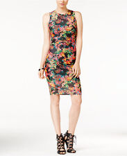 GUESS Bodycon Printed Sheath Mesh Midi Floral banded Dress Sleeveless 2 4 Black