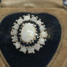 Vintage Sterling Silver Ring 925 Size 8 Fire Opal Sapphire Cluster