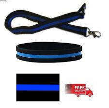 Police Thin Blue Line High Quality Lanyard With Memorial Silicon Wristband