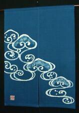 KyotoCrest wave Noren Door curtain Roketsu Dye Handpaint Cotton 85x120cm Japan