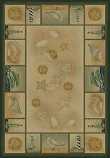 "Coastal ivory 4x6 ocean Shells area rug Dolphin carpet : Actual 3' 11"" x 5' 3"""