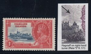 "Falkland Islands, SG 139d, MHR ""Flagstaff on Right Hand Turret"" variety"